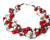 4th of July Red, White and Blue Necklace with Waxed Cotton Cord. Navy and Red Beaded Necklace Nautical Jewelry.