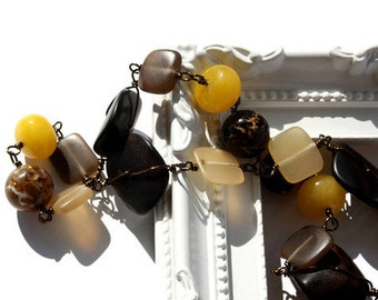 Chunky necklace, gemstone necklace with jade, brown agate, exotic wood and horn. OOAK. Ready to ship.