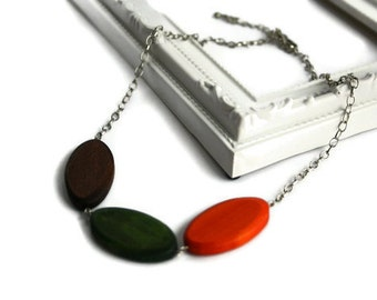 Chunky Wood Necklace - Fall Necklace - Orange Wood Necklace - Fall Outfit - Bridesmaid Jewelry - Fall Wedding - October Birthday Gift
