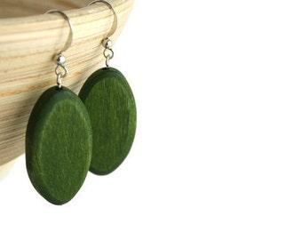 Forest Green Earrings - Wooden Earrings - Hypoallergenic Earrings - Wood Earrings