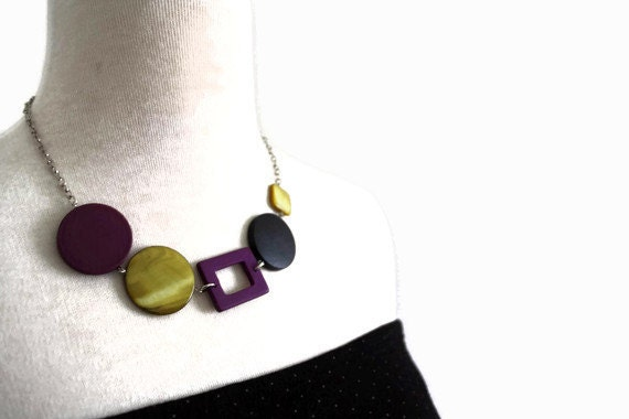 Purple Wood Necklace with Geometric Beads, Olive Green and Black Chunky Wood and Shell Bead