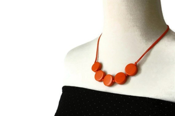 Orange Necklace - Resin Beaded Necklace - Geometric Jewelry - Tangerine Tango Etsy Orange
