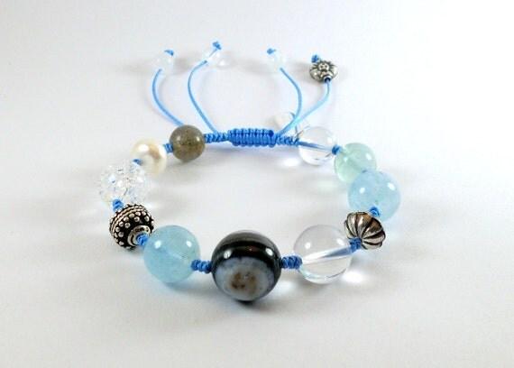 Aquamarine  Macrame Crystal bracelet. Courage  bracelet.