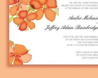 Wedding Invitations Suite with Bright Spring Blossoms, Fun Invitations Perfect for Spring and Summer Weddings and Showers and Other Events.