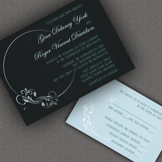 Vintage Wedding Invitations, Art Nouveau Full Moon Motif, Vintage Inspired Design, Black Background with Your Chosen Custom Color Accents