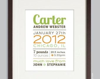 Custom Birth Print, Nursery Wall Art Print, Baby Gift (baby name and birth stats) green & orange, custom colors