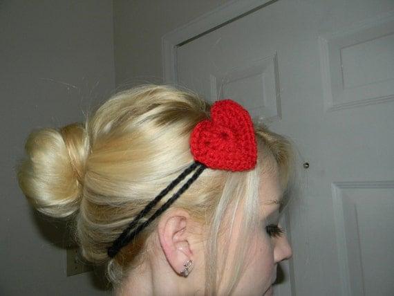 Crochet Black Headband-  Hippie headband- with heart