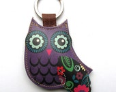 Leather keychain/bag charm - Owl