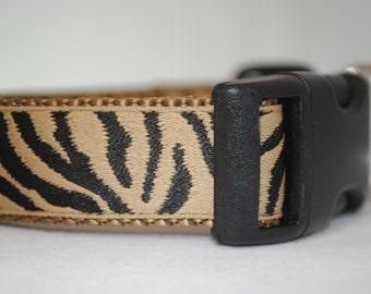 "Zebra Pattern - 1"" Adjustable Dog Collar - Brown and Black"