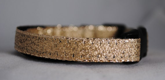 "Metallic Gold 3/8"" Adjustable Cat Collar - Limited Availability"