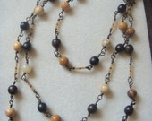 Chocolate Caramel Chain - Extra long Gemstone chain necklace with Dark Wood and Ocean Jasper