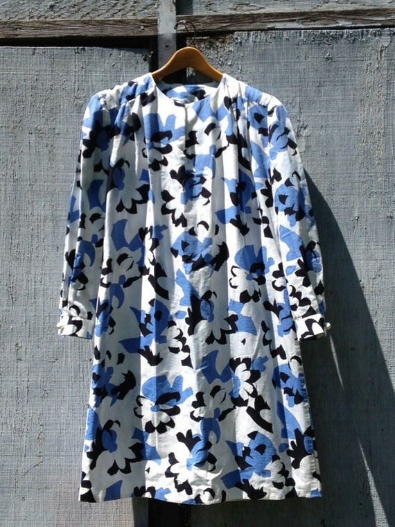 SALE - 60s geometric floral dress