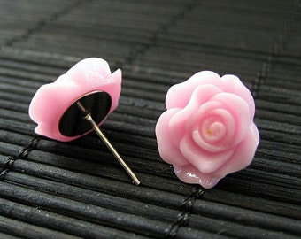 Pink Rose Earrings in Resin. Silver Post Earrings. Stud Earrings. Flower Jewelry. Handmade Jewelry.