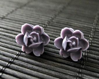 Dusk Purple Tiny Lotus Rose Post Earrings. Bronze Stud Earrings. Dark Purple Earrings.  Purple Flower Earrings. Handmade Jewelry.