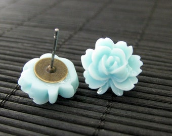 Lotus Flower Earrings in Aqua Blue and Bronze Post Earrings. Flower Jewelry by StumblingOnSainthood. Handmade Jewelry.