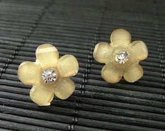 LAST PAIR. Apricot Yellow Flower Earrings with Bronze Post Earrings and Rhinestones. Handmade Jewelry.