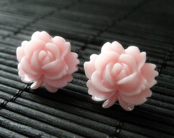 Fower Earrings: Girly Pink Flower Stud Earrings with Lotus Flower. Jewelry by Stumbling On Sainthood. Handmade Jewelry.