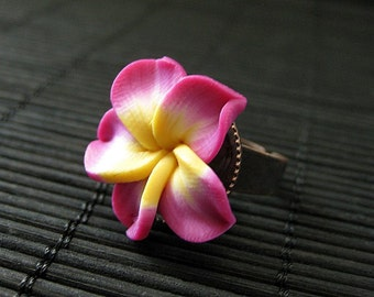 Fuchsia Flower Ring. Plumeria Ring. Polymer Clay Ring. Frangipani Flower Ring. Copper Adjustable Ring. Flower Jewelry. Handmade Jewelry.