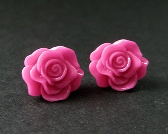 Hot Pink Rose Earrings. Silver Stud Earrings. Flower Earrings. Post Earrings. Flower Jewelry. Handmade Jewelry.