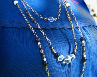 Long Layered Necklace Multistrand Crystal Necklace Wedding Jewelry Gifts For Her