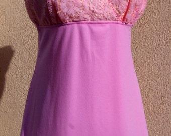 Vintage Dress, Pink Dress, Pale Pink 70s Cutwork Dress, Sleeveless Dress Pale Pink