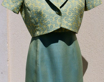 SALE - Dress and Bolero in Teal, French Vintage Ensemble, Teal Shift Dress and Jacket