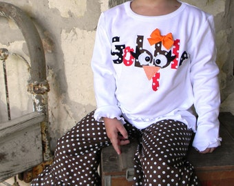 Gobble, Gobble... Thanksgiving Gobble Shirt and Boutique Ruffle Pants...You Pick Color Brown, Black or Red Polka Dot sizes 6-12m to 8 years