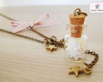 Stars bottle Necklace. Stars vial necklace, tiny falling stars necklace, fall winter fashion. Gift under 25USD Cute gift. French inspired