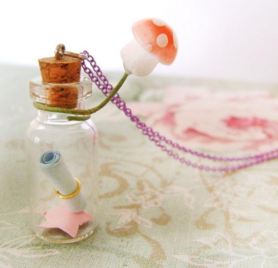 Message Bottle Necklace Secret Vial Woodland necklace Jar Rolled Note Heart Star Mushroom