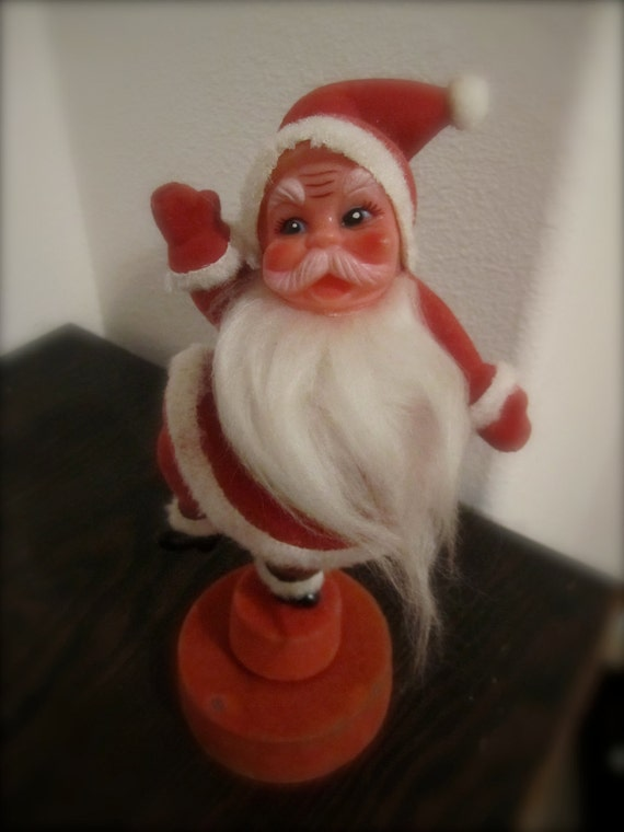 Santa Music box spinning rotating vintage felted plastic  flocked st nick playing jingle bells