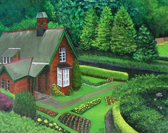 Scottish cottage oil painting, surrounded by lush green gardens