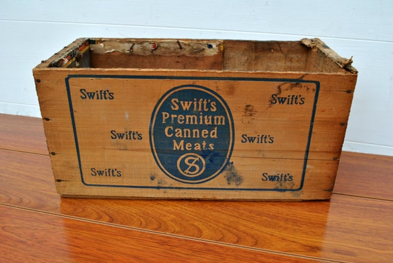 SALE Vintage Swift's Meats Crate - Box