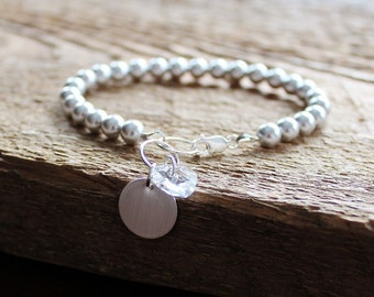 Personalized Pearl Bracelet Hand Stamped Modern And Luxe For The Bride, Mother Of The Bride, Bridesmaids,any special occassion