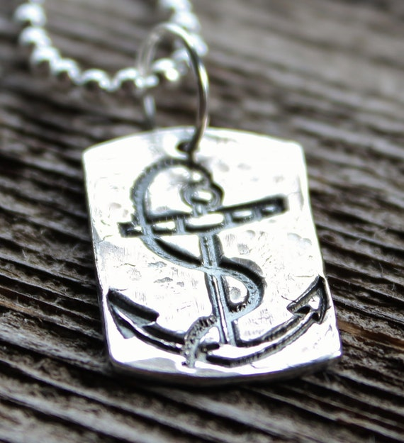 Men's Silver Anchor Necklace, Personalized Silver Hand Stamped Dog Tag, Custom Anchor Dog Tag Necklace - My Anchor Nautical Necklace