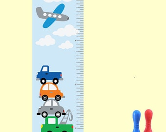 Childrens Wall Decal Growth Chart Cars Airplane REUSABLE REMOVABLE