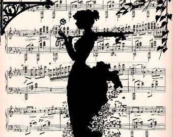 LOVE SONG music retro 30 art Print art Poster Wall Decor Illustration Romance Melody Music Sheet