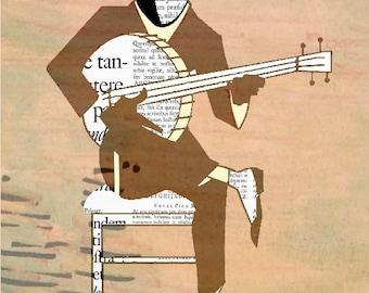 BANJO MAN  print poster mixed media painting illustration wall decor