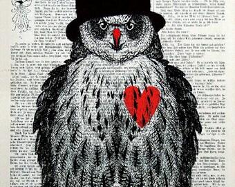 OWL red, original ARTWORK, art print, art poster