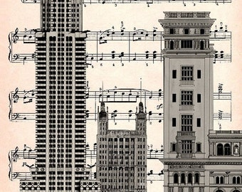 CARNEGIE HALL  print poster mixed media painting illustration drawing new york