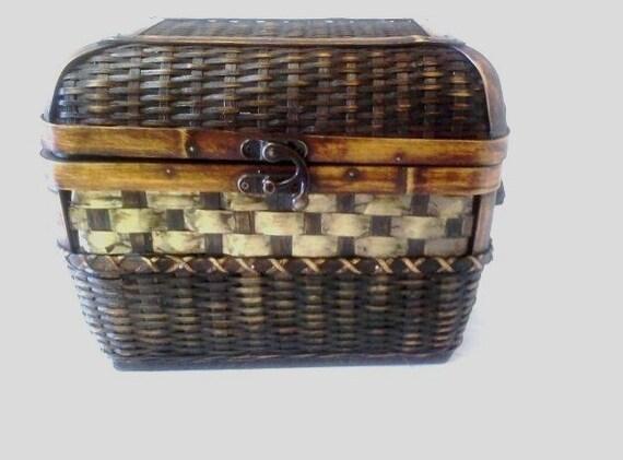 Storage Wicker Basket Brass Slatted with Handles Vintage