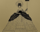 Mademoiselle Clip Art, with Victorian Gown, Royalty Free, No Credit Required