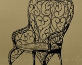 Garden Chair w Bird Clip Art, Vintage, Royalty Free, No Credit Required, Commercial Use for crafts and designs, printable