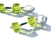 Tiny Blue Resistor Lime Green Glass Cube Wearable Tech Earrings Computer Eco Friendly Jewelry Upcycled Electronic Geek Chic Save Environment
