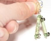 NO Power to Resist, Techie Eco Friendly Jewelry, Steampunk Earrings, Vintage Electronics, Light Green Earrings, Sterling silver Earrings