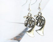 Music Earrings. Steampunk Antique Silver FRENCH HORN. Gift for Teacher Jazz Band Orchestra. geekery Earrings