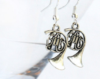 Summer Party Summer Party Music Earrings Steampunk Antique Silver FRENCH HORN Gift for Teacher Jazz Band Orchestra geekery Earrings