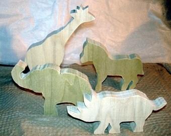 Childrens Toys Woodworking Toys Zebra, Horse, Elephant, Rhino Jurassic Park Animals on the Move