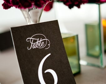 Printable Table Numbers -- Simple, Elegant Calligraphy, Black and White