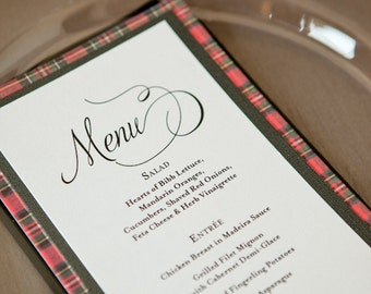 Wedding Dinner Table Menu -- Printable Digital File -- Elegant and Simple Modern Calligraphy, Special Event, Black and White