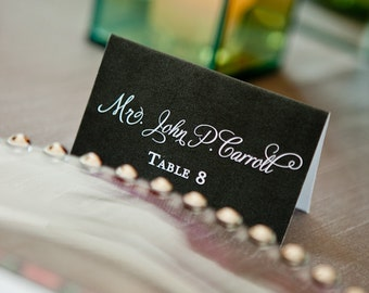 Printable Wedding or Event Escort Cards -- Fold-Over Typeset Place Cards, Black, White, Calligraphy